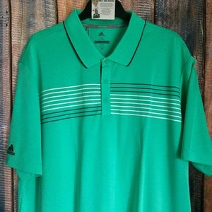NEW Adidas Essential Textured Striped Golf Polo